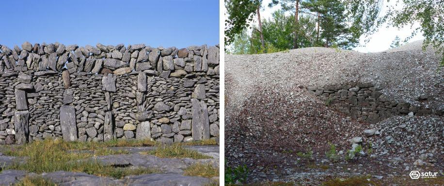 muro de carga con áridos