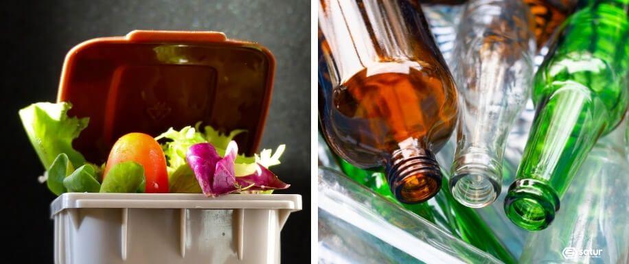 Tipos de residuos comerciales como alimenticios o de vidrio.